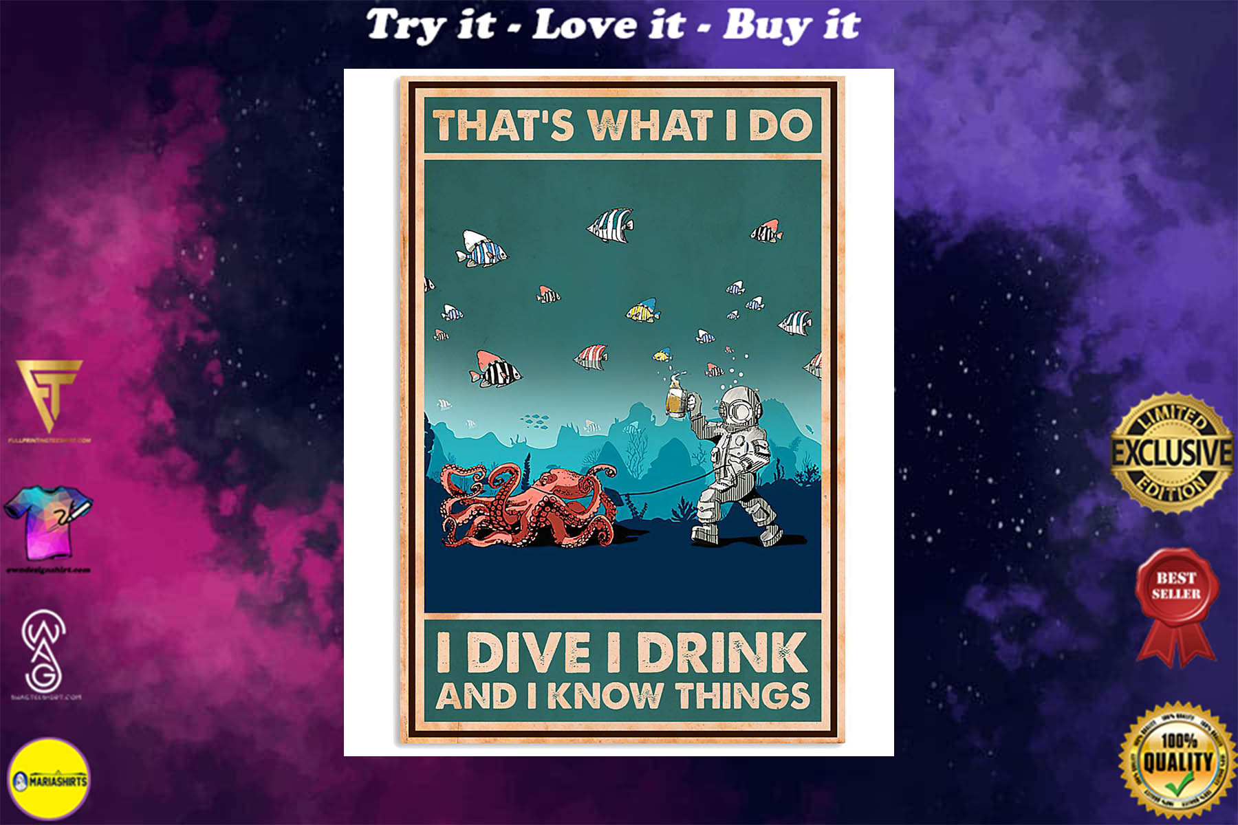 thats what i do i dive i drink and i know things retro poster