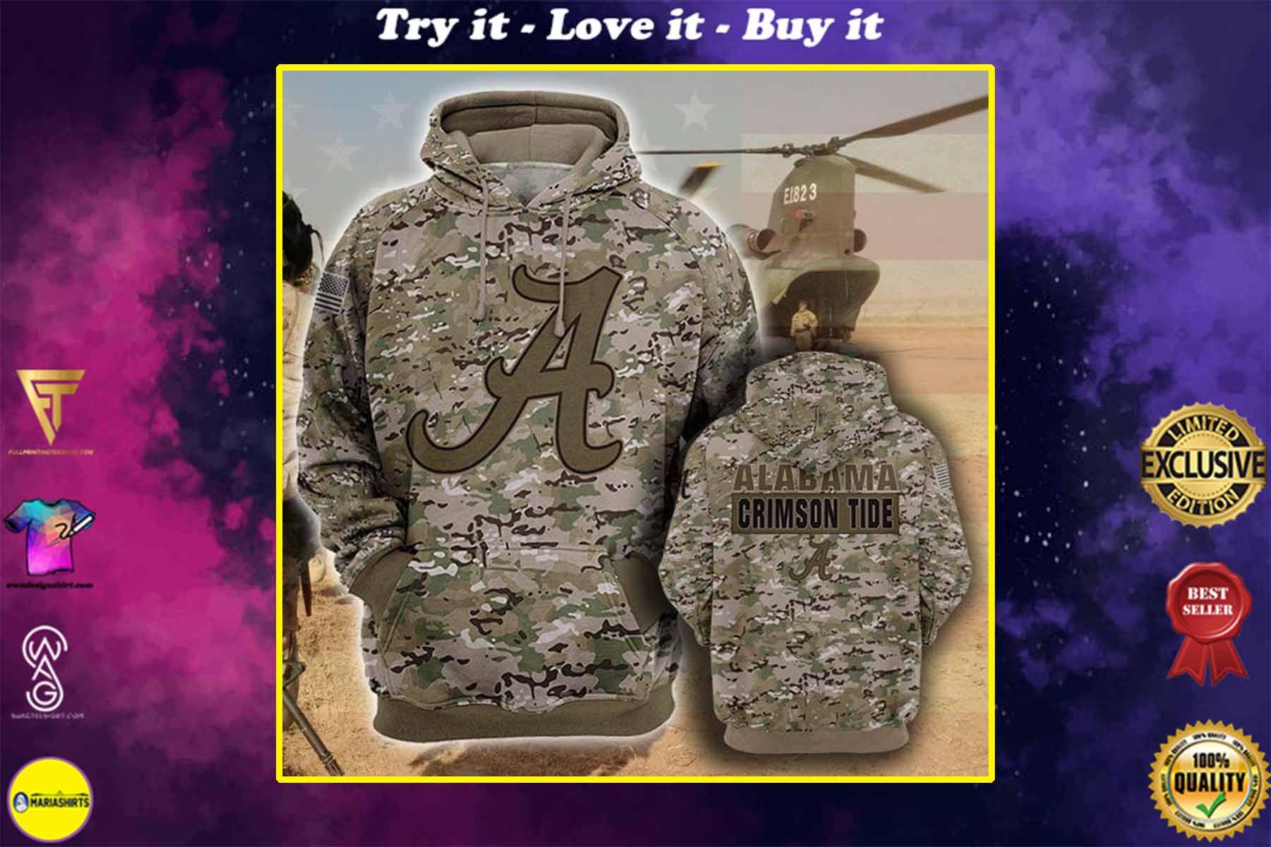 the alabama crimson tide camouflage veteran full over printed shirt
