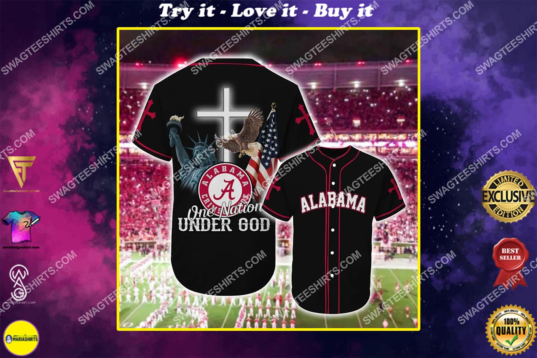 the alabama crimson tide one nation under God full printing baseball jersey