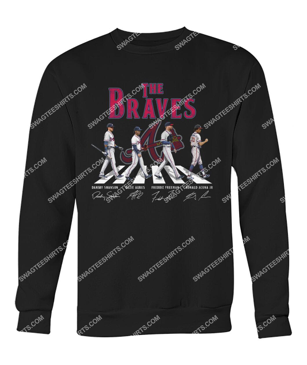 the atlanta braves walking abbey road signatures sweatshirt 1