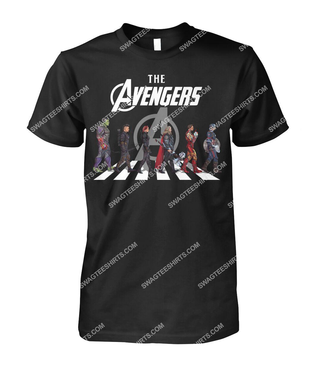 the avengers marvel walking abbey road signature tshirt 1