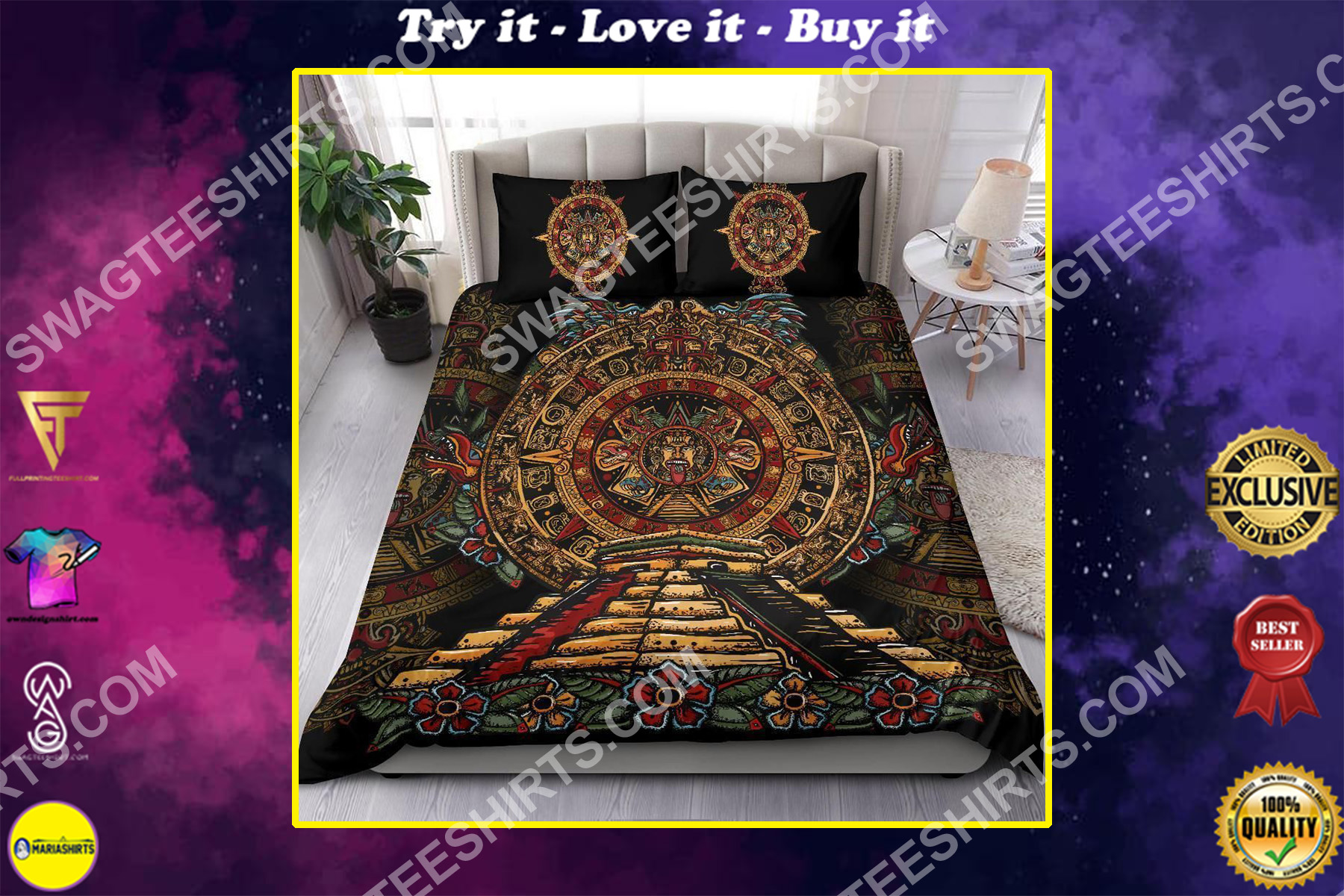 the aztecs of mexico all over printed bedding set