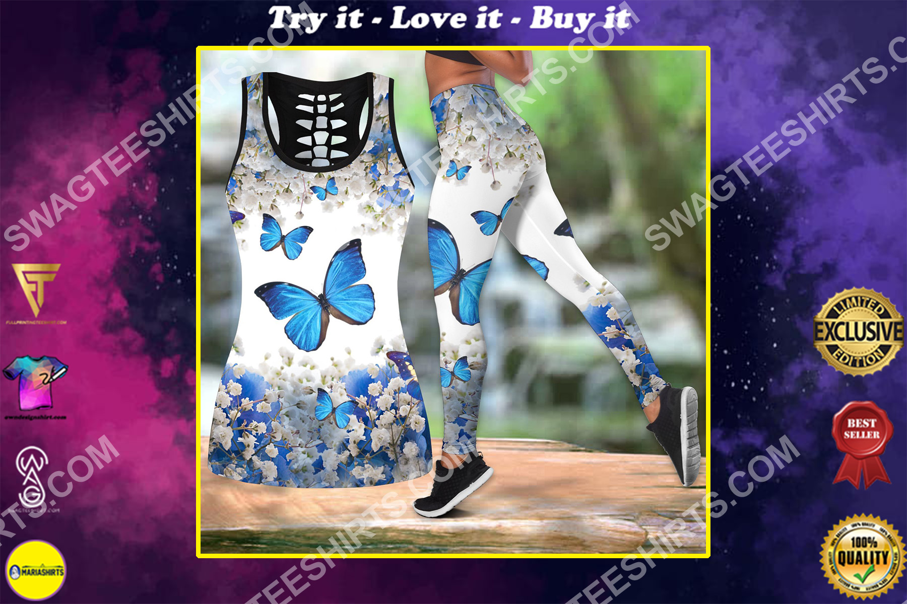 the butterfly blue all over printed set sports outfit