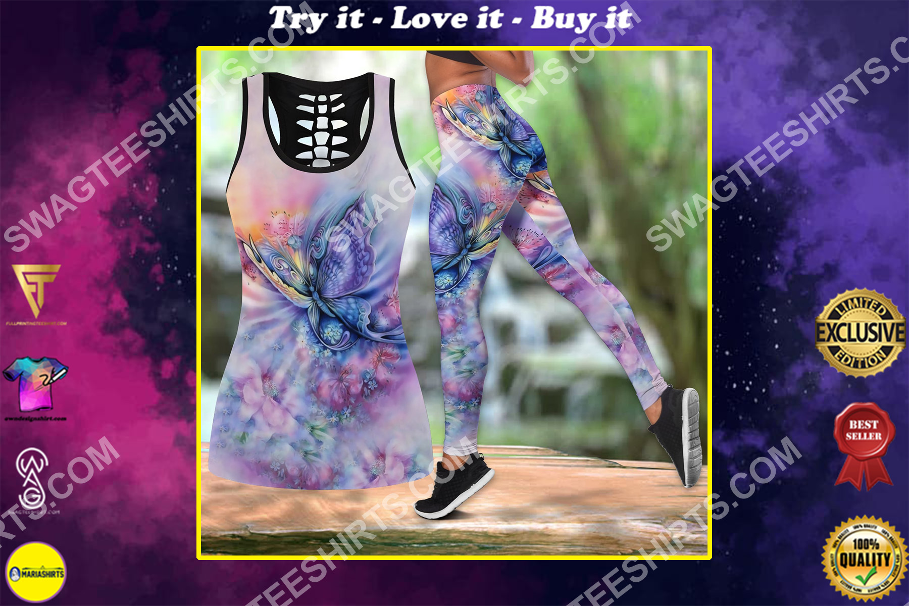 the butterfly watercolor all over printed set sports outfit