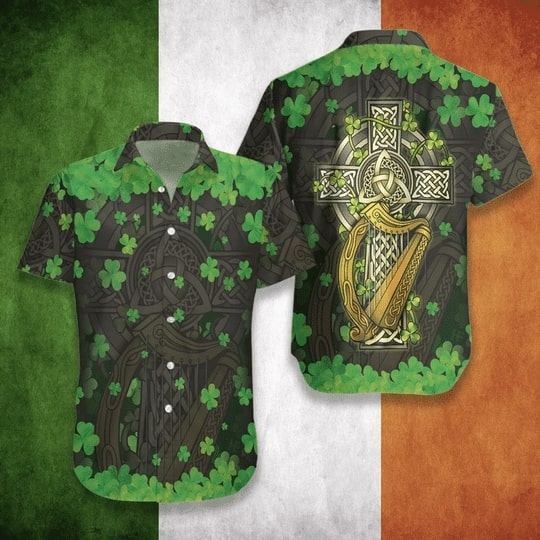 the celtic cross happy patricks day all over printed hawaiian shirt 3