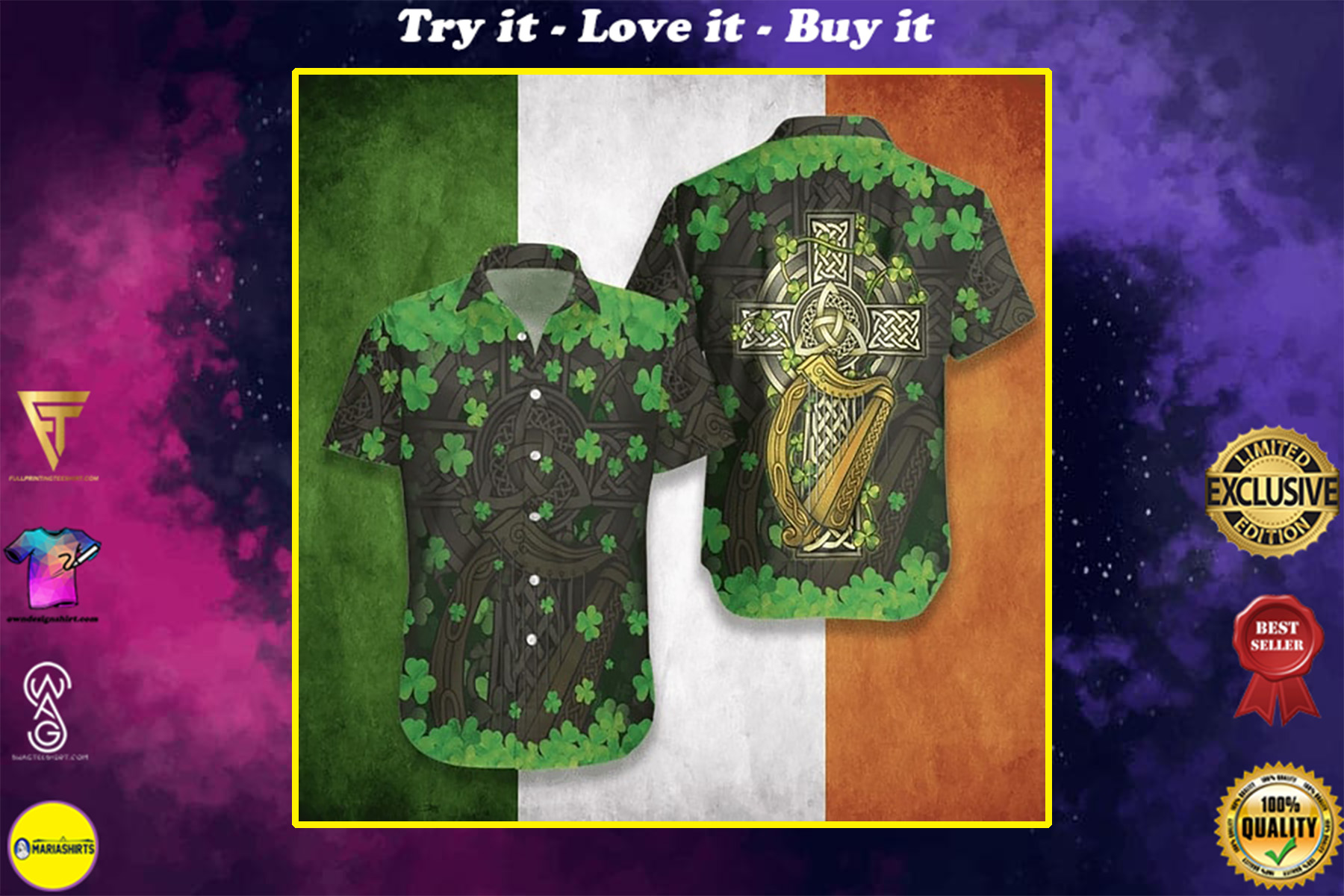 the celtic cross happy patricks day all over printed hawaiian shirt
