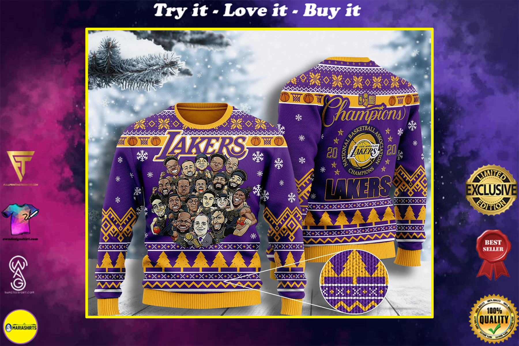 the champions los angeles lakers all over printed ugly christmas sweater