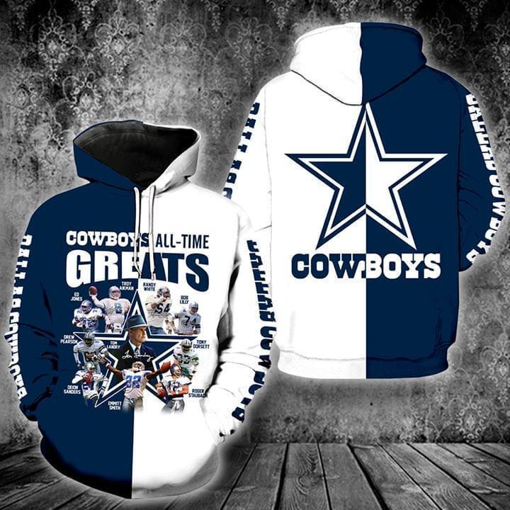 the dallas cowboys all time greats full over printed hoodie 1