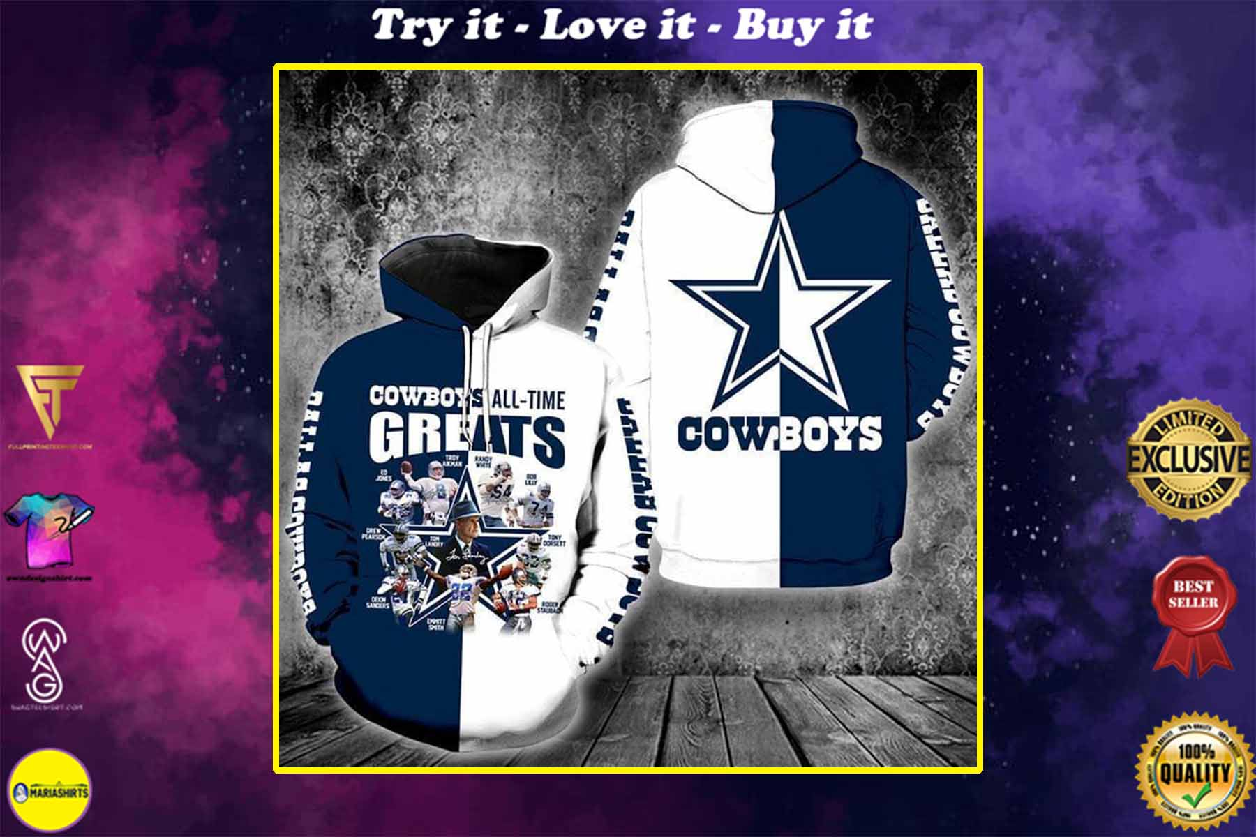 the dallas cowboys all time greats full over printed shirt