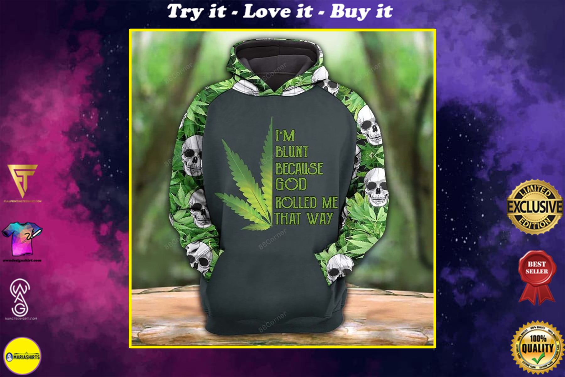 the dark skull with cannabis all over printed shirt