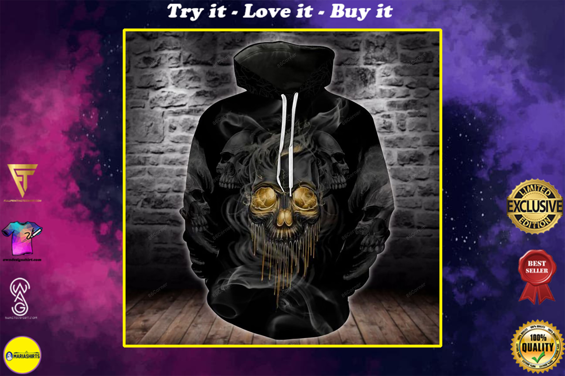 the dark skull with smoke all over printed shirt