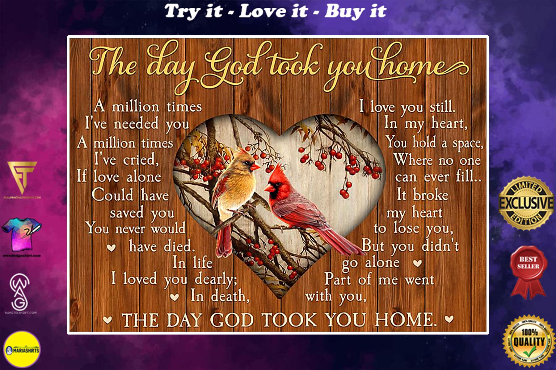the day God took you home cardinalis cardinalis poster