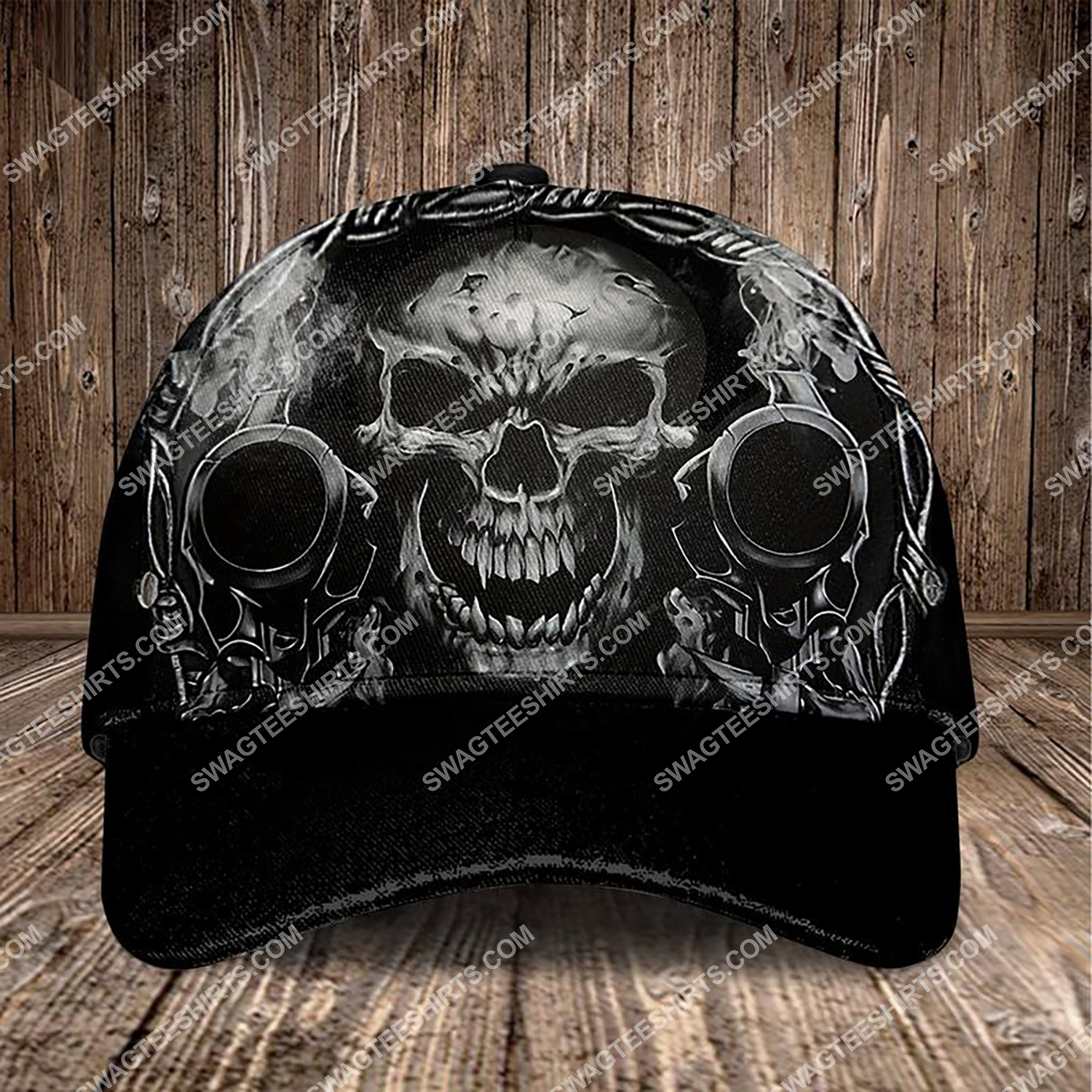 the dead skull and gun all over printed classic cap 3 - Copy (2)