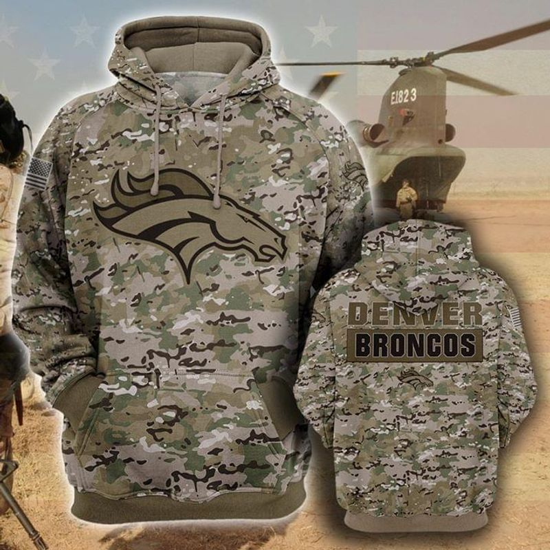 the denver broncos football team camo style full over printed hoodie 1