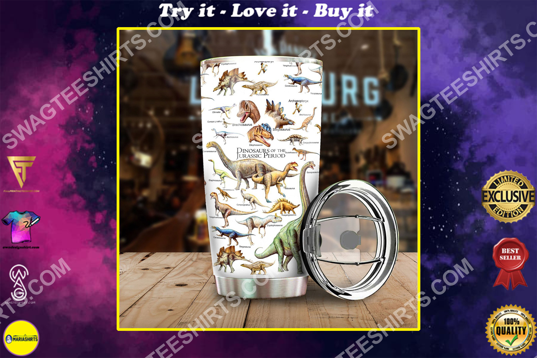 the dinosaurs of the jurassic stainless steel tumbler