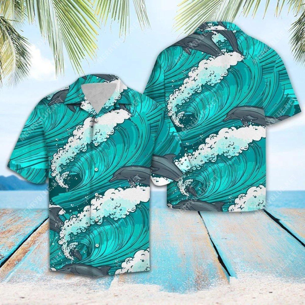 the dolphin waves all over printed hawaiian shirt 2