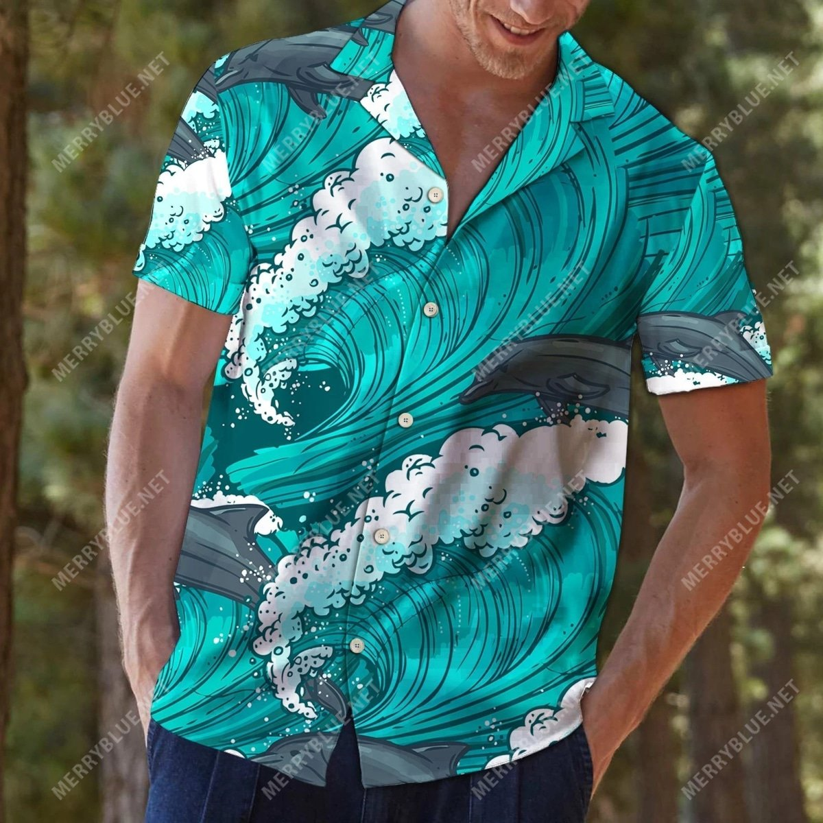 the dolphin waves all over printed hawaiian shirt 4