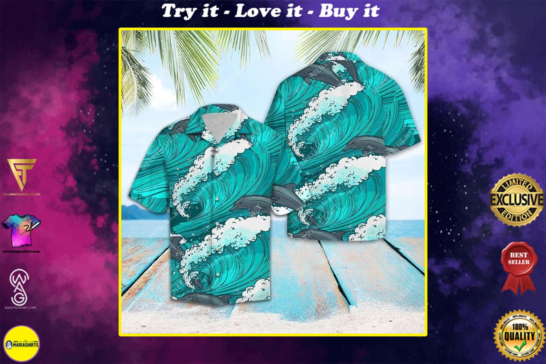 the dolphin waves all over printed hawaiian shirt