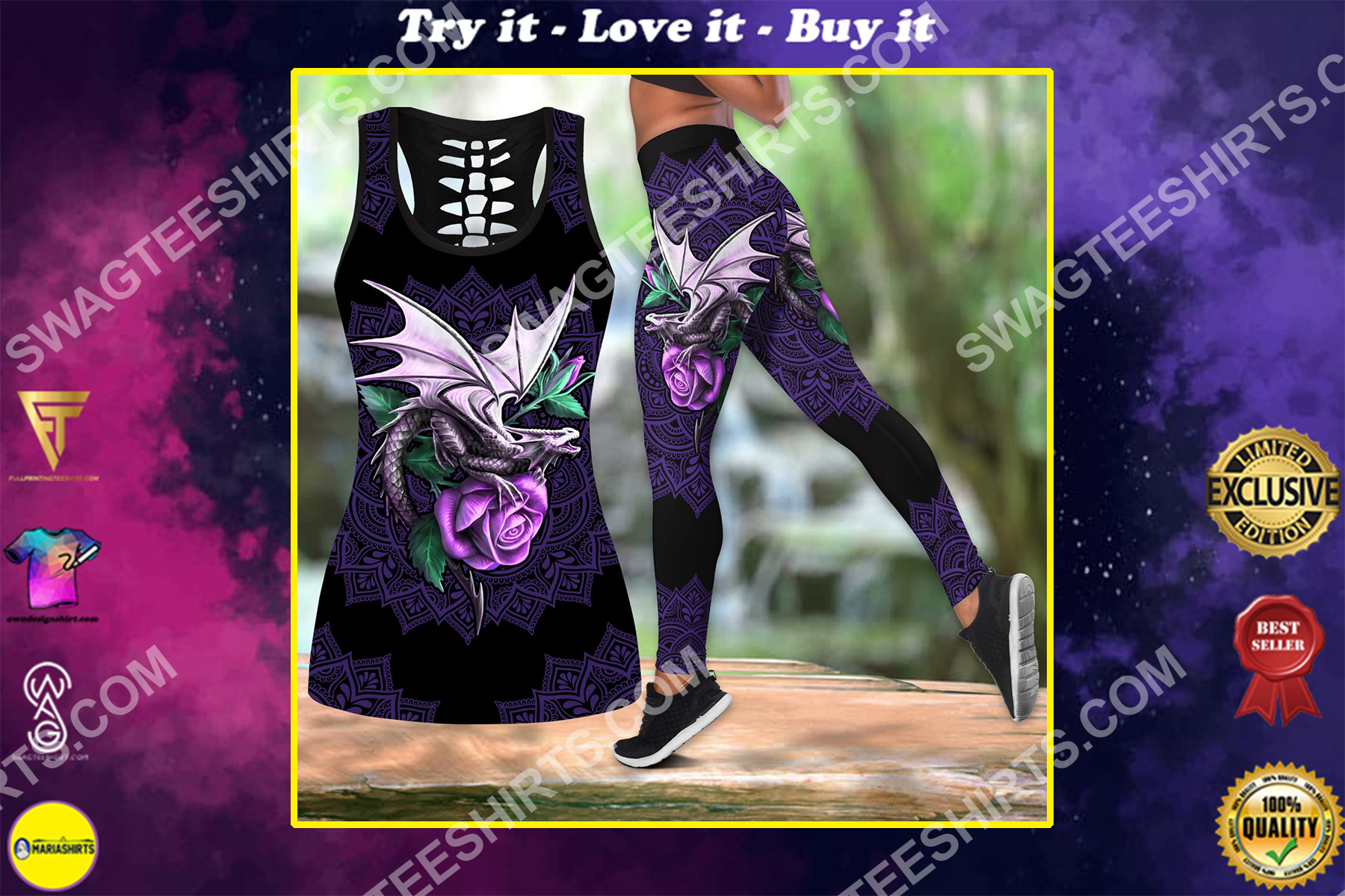 the dragon and rose all over printed set sports outfit