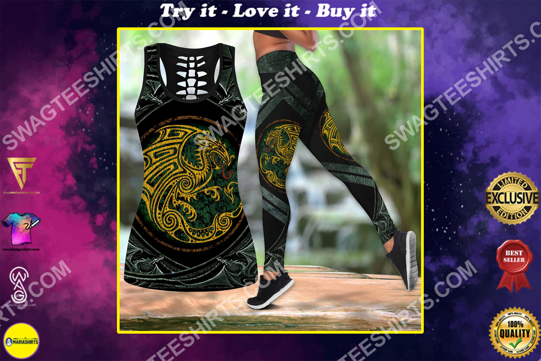 the dragon tattoo all over printed set sports outfit