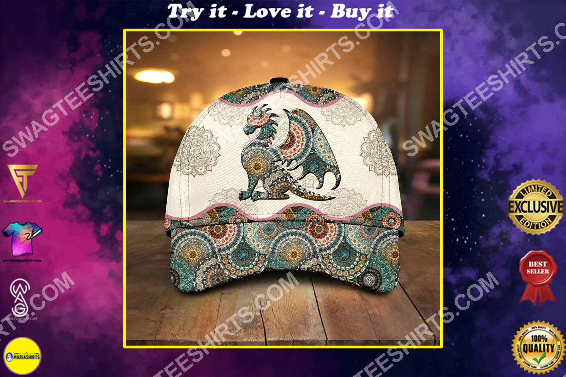the dragon vintage all over printed classic cap