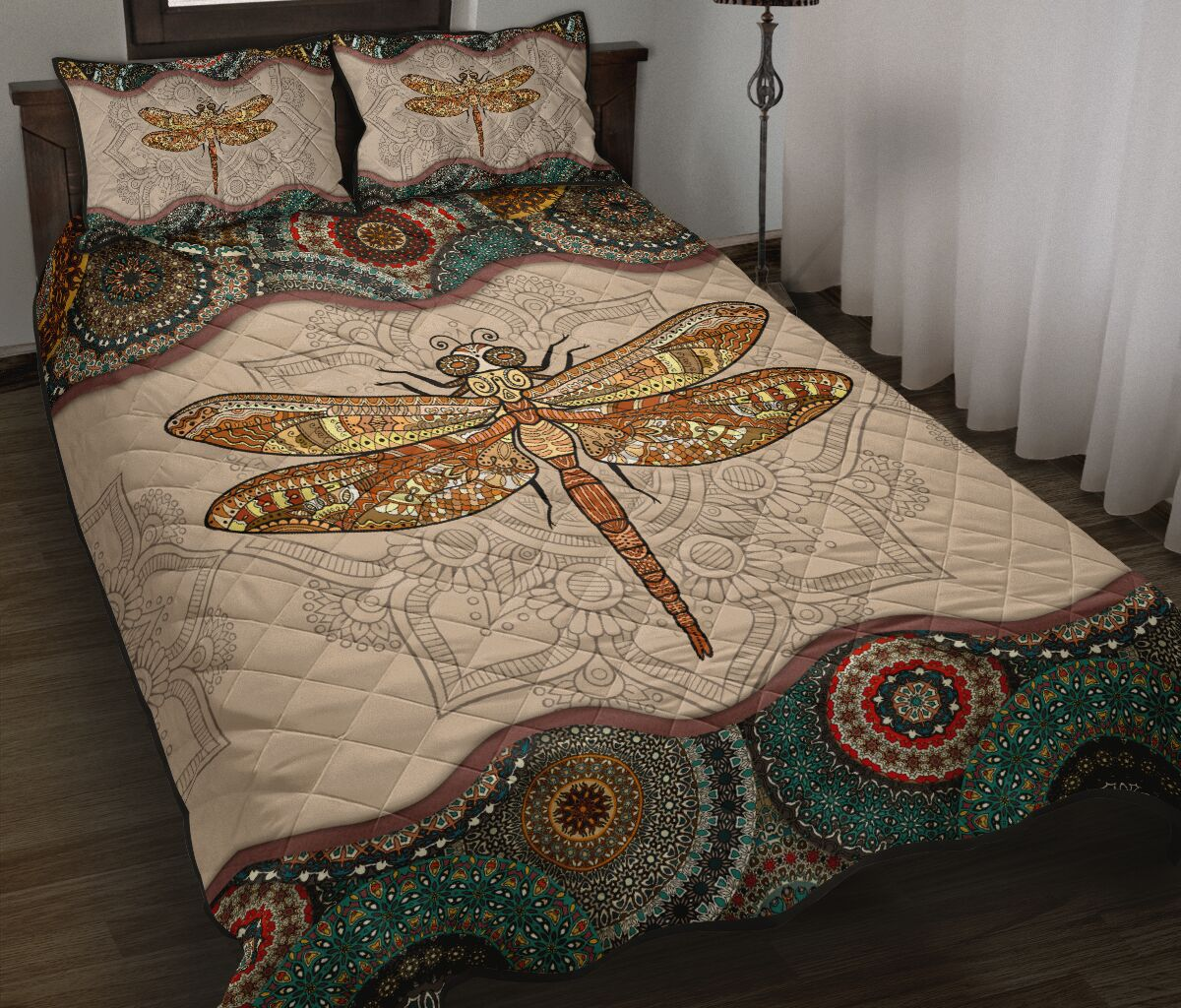 the dragonfly vintage version full over print quilt 2