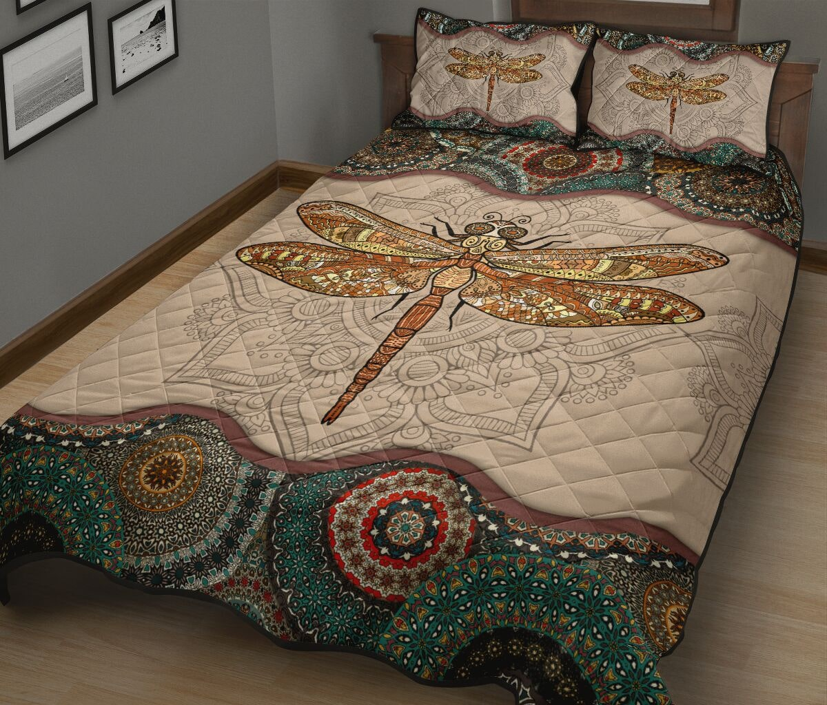 the dragonfly vintage version full over print quilt 3