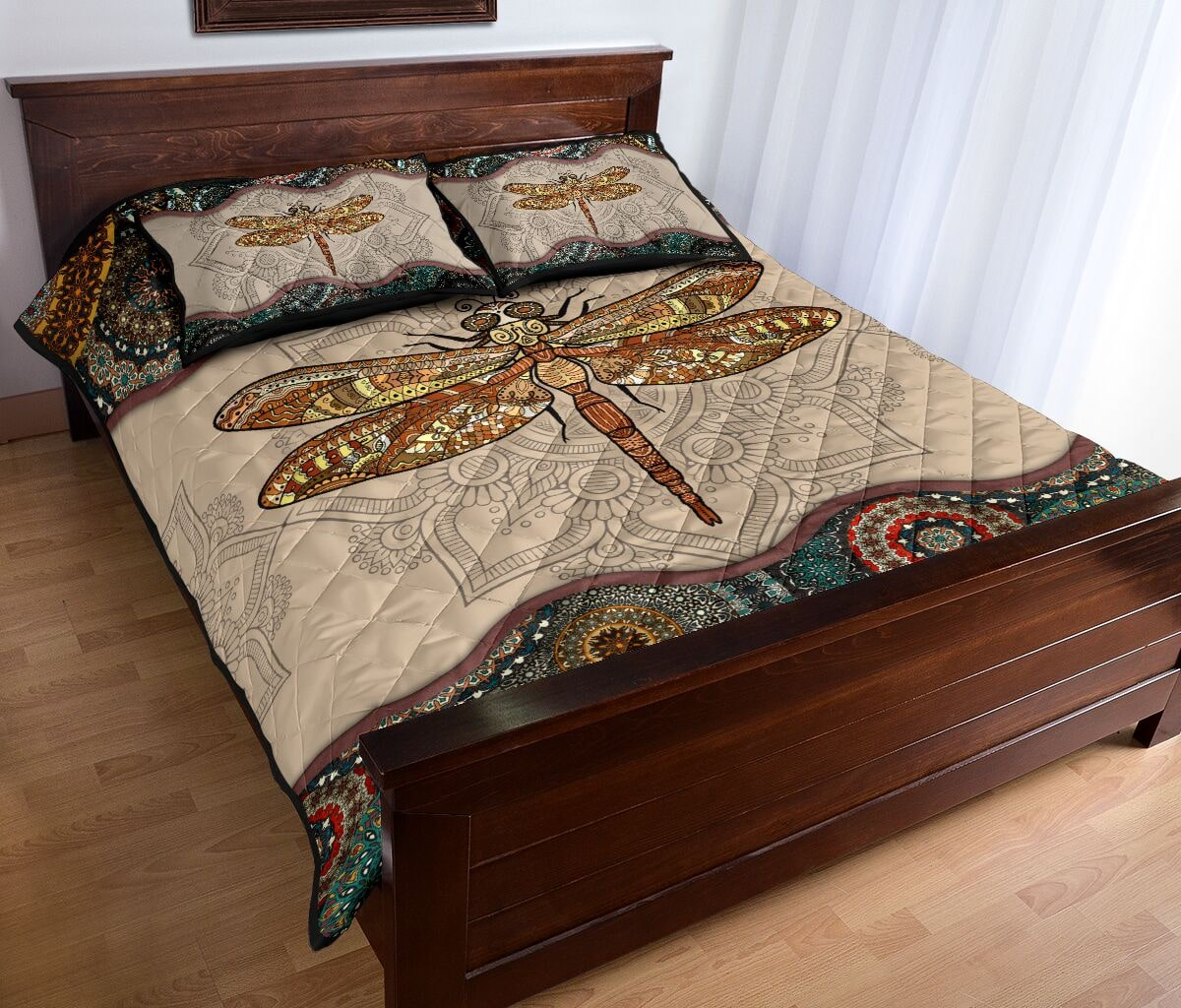 the dragonfly vintage version full over print quilt 4