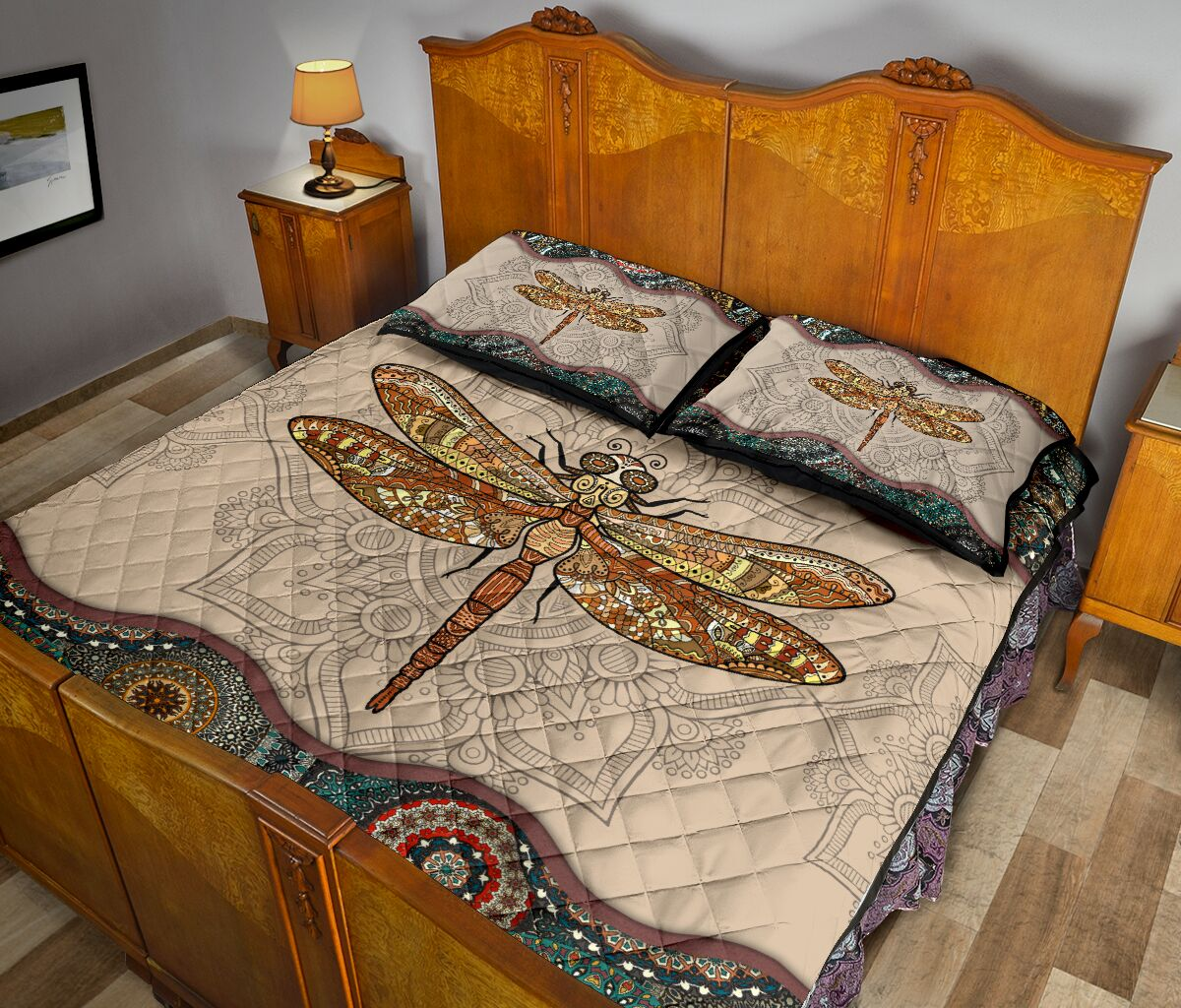 the dragonfly vintage version full over print quilt 5