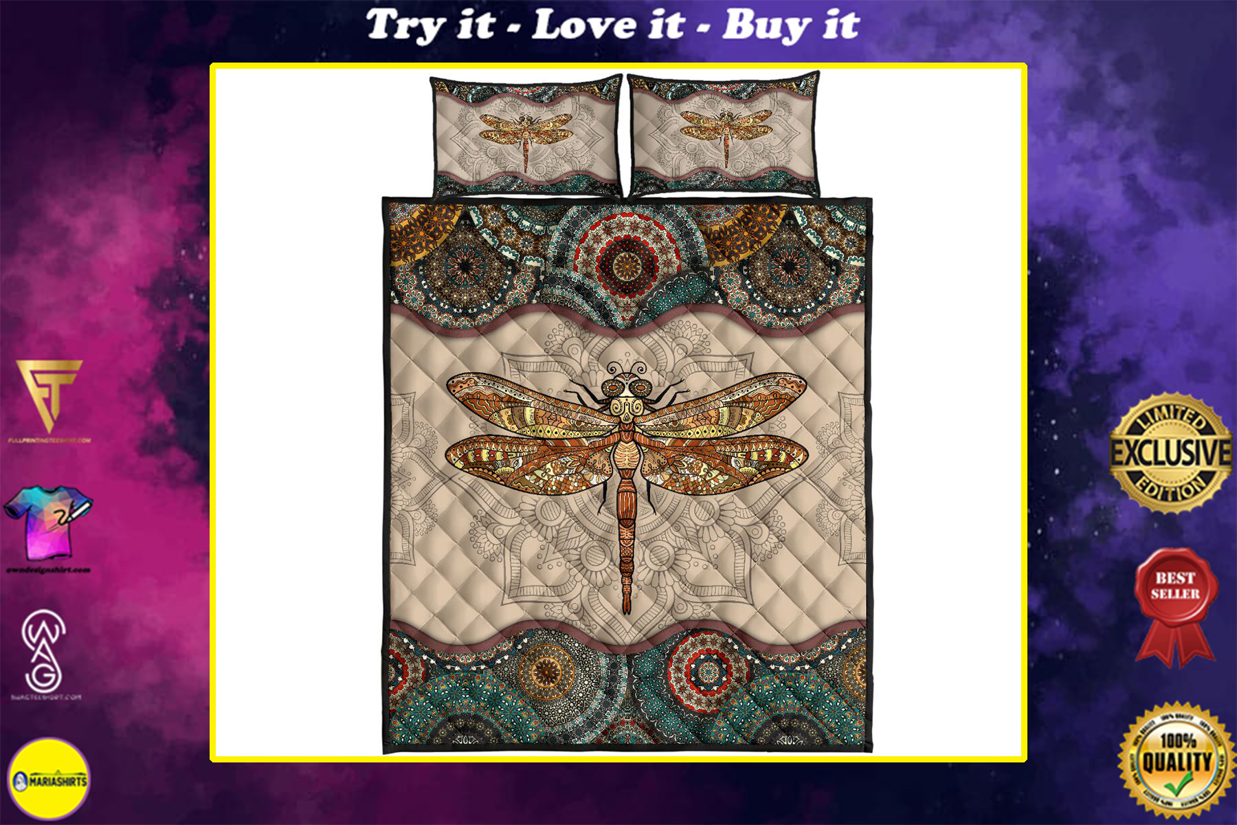 the dragonfly vintage version full over print quilt