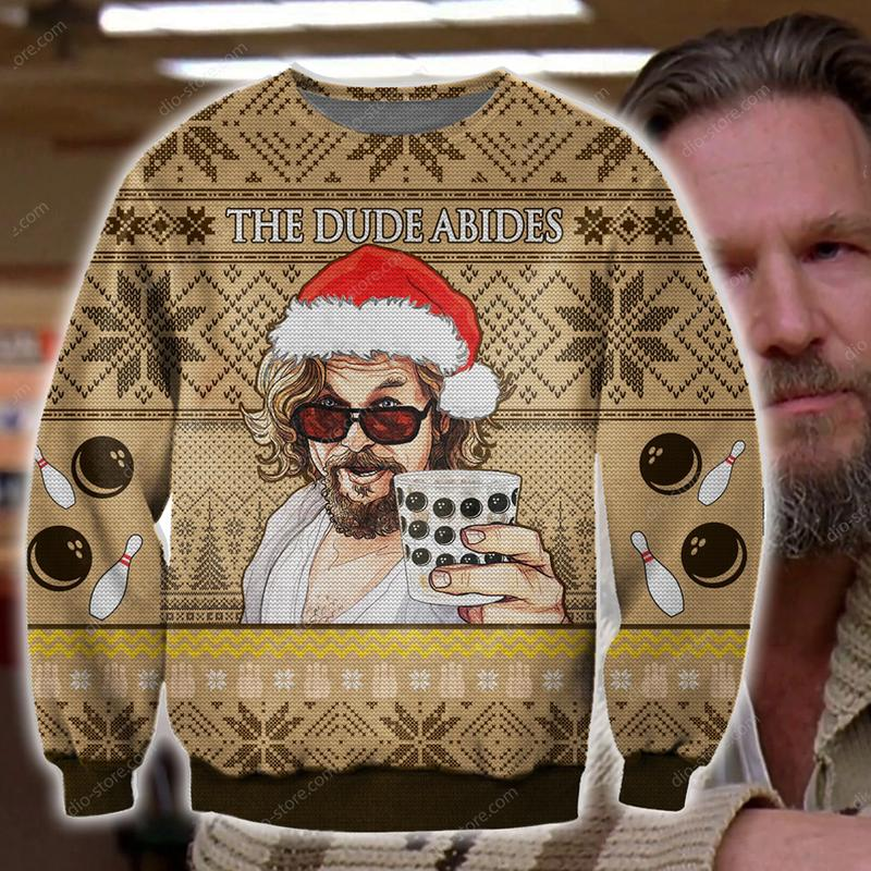 the dude abides the big lebowski ugly christmas sweater 3