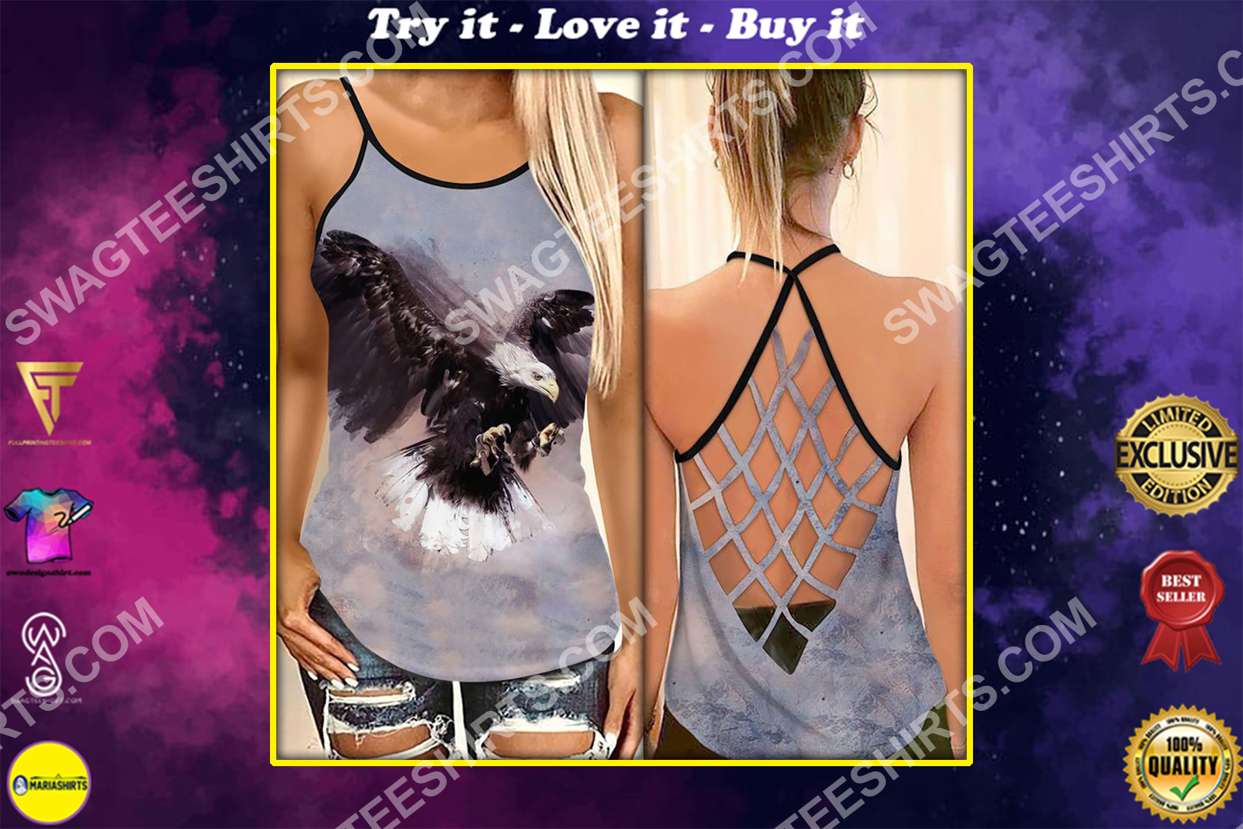 the eagle all over printed strappy back tank top