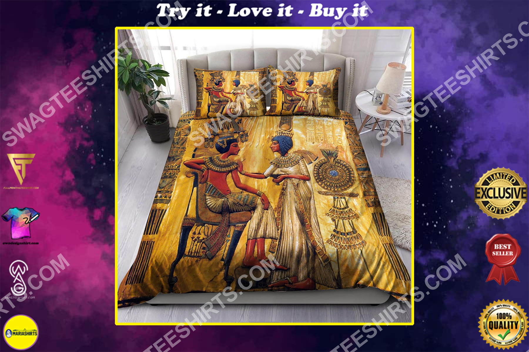 the egyptian mythology king and queen all over printed bedding set