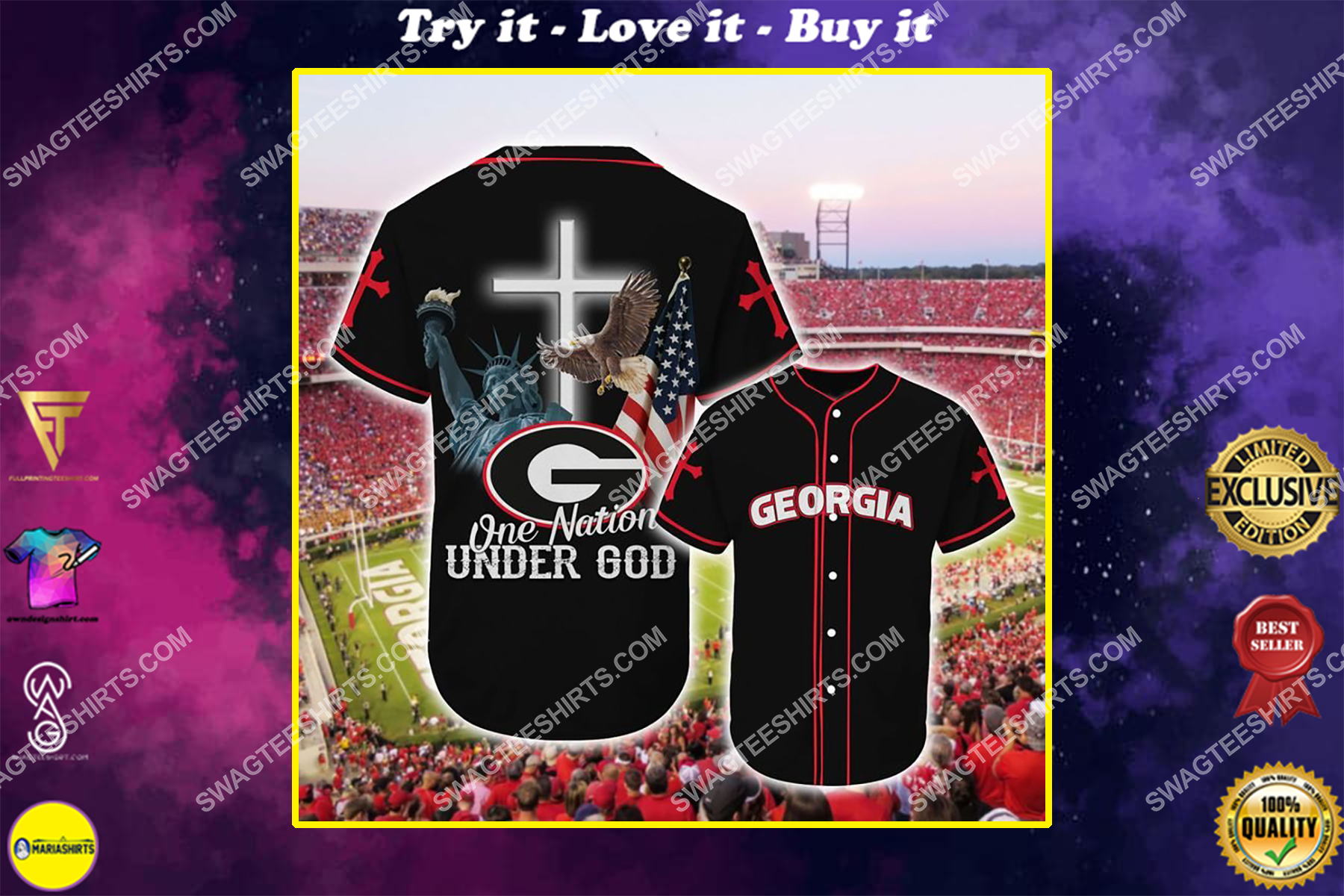 the georgia bulldogs one nation under God full printing baseball jersey
