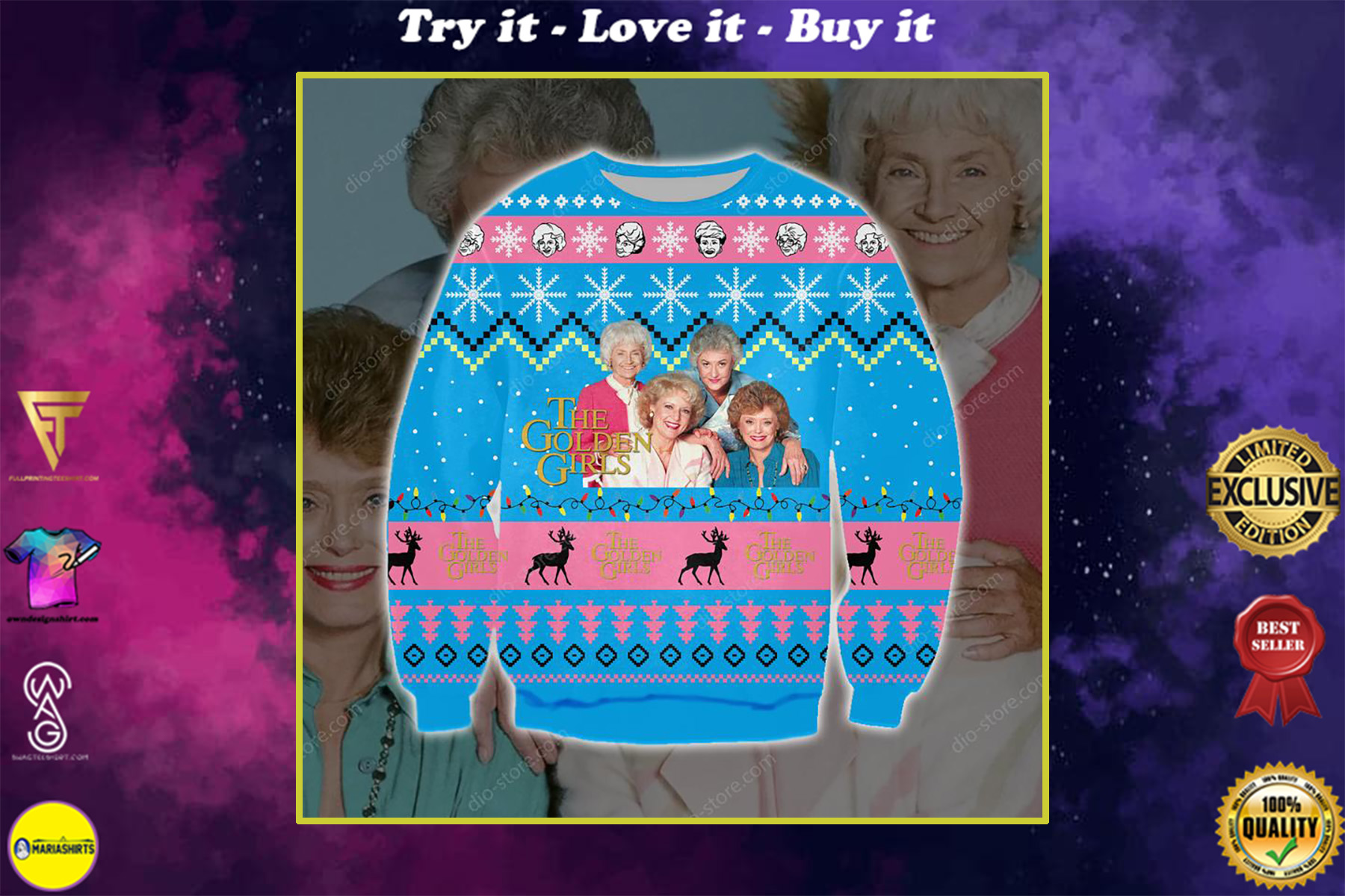 the golden girls full printing ugly christmas sweater
