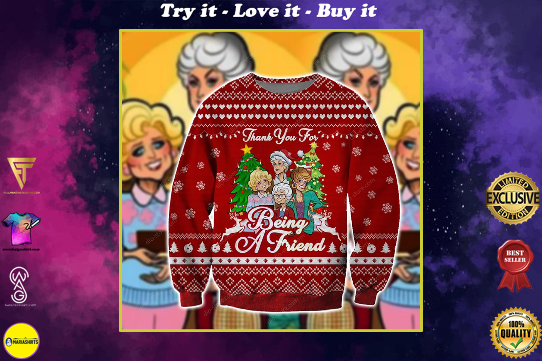 the golden girls thank you for being a friend ugly christmas sweater