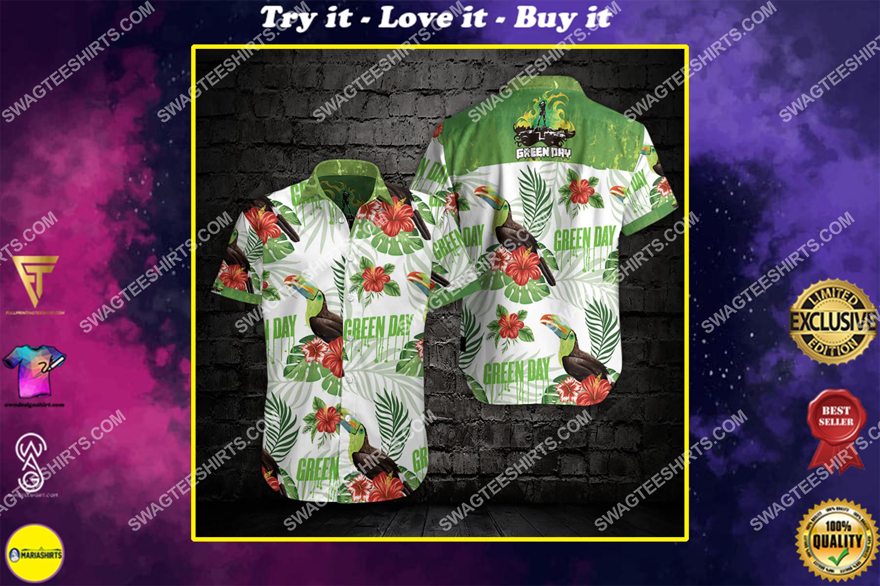 the green day all over print hawaiian shirt