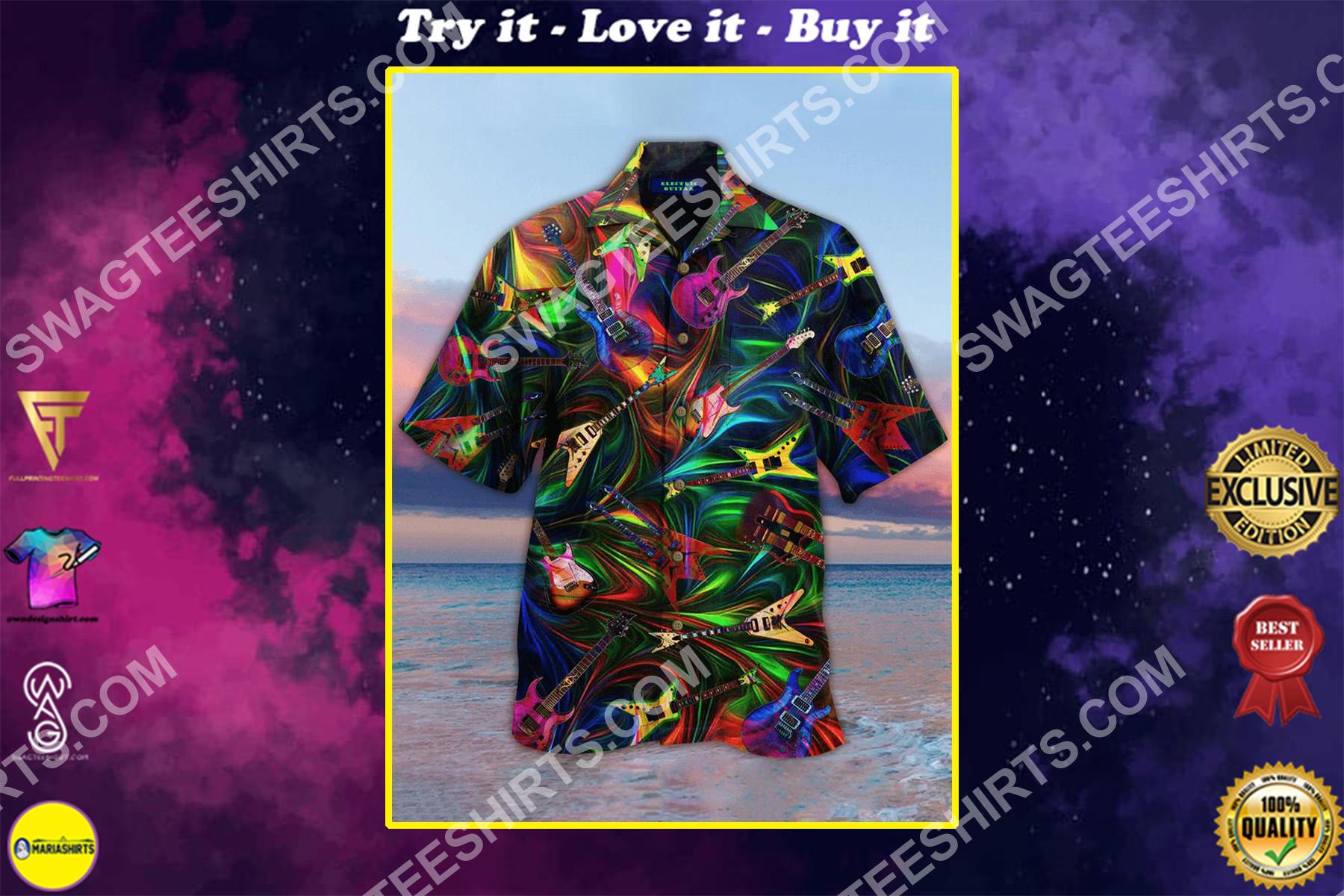the guitar colorful all over printed hawaiian shirt