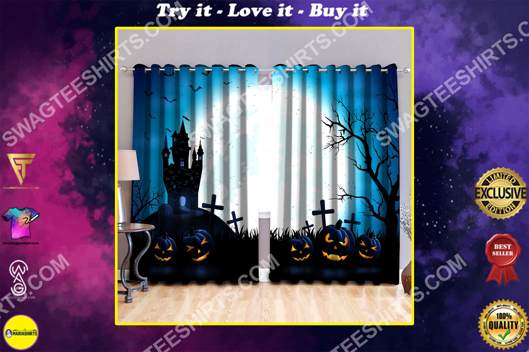 the halloween night all over printed window curtains