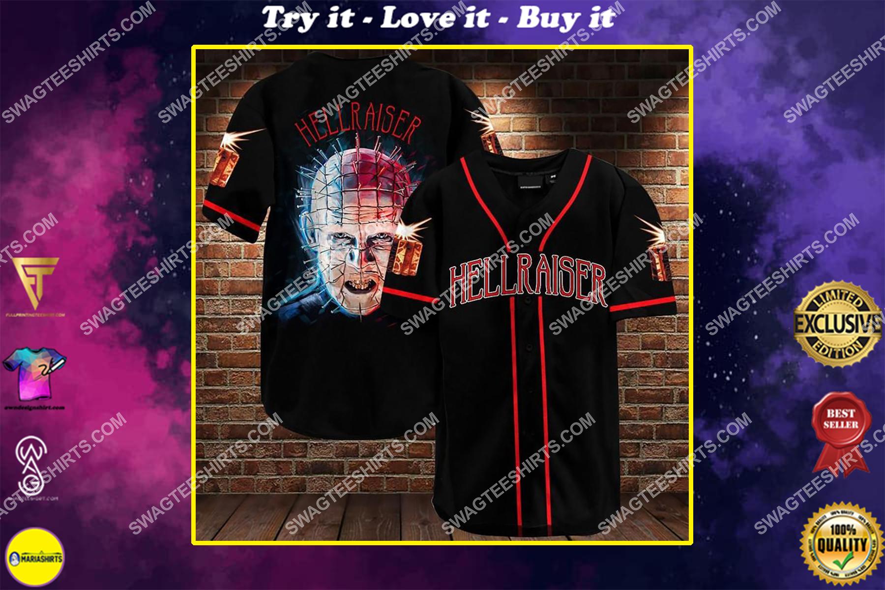the hellraiser movie all over printed baseball shirt
