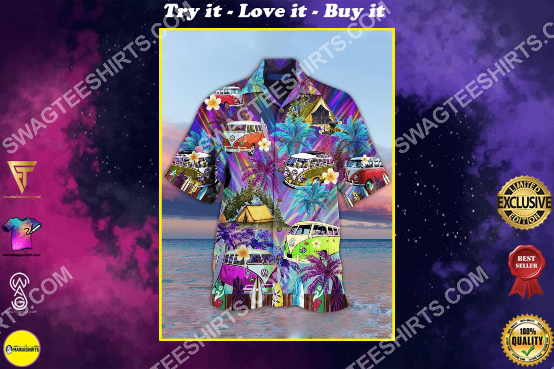 the hippie car all over printed hawaiian shirt