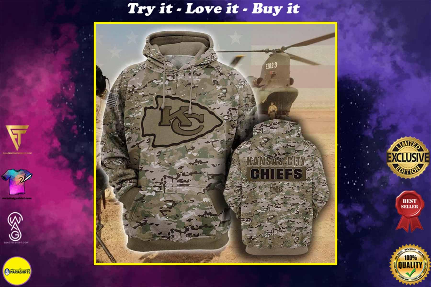 the kansas city chiefs camouflage veteran full over printed shirt
