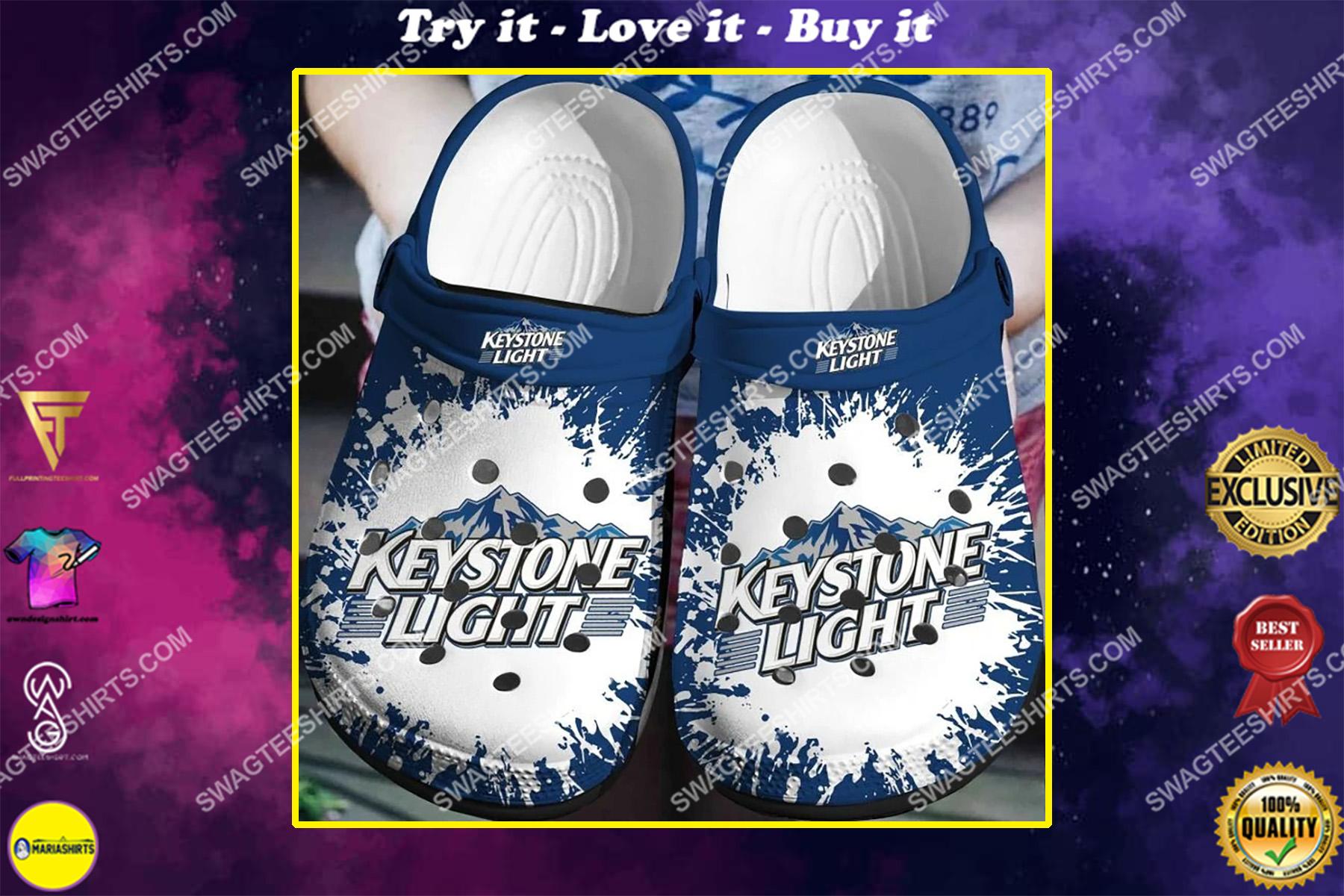 the keystone light all over printed crocs crocband clog