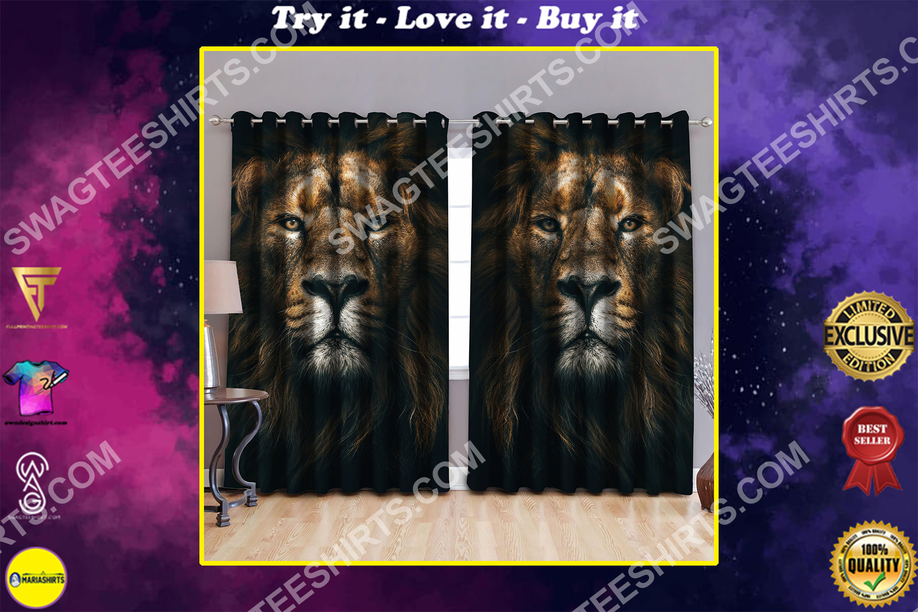 the lion face all over printed window curtains