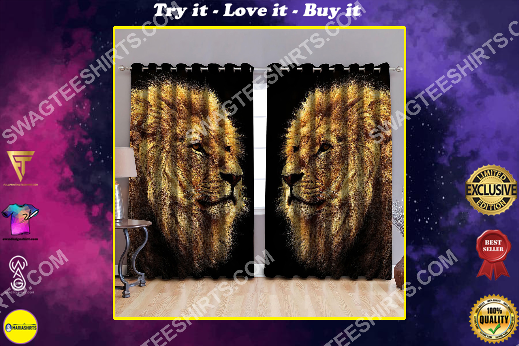 the lion retro all over printed window curtains