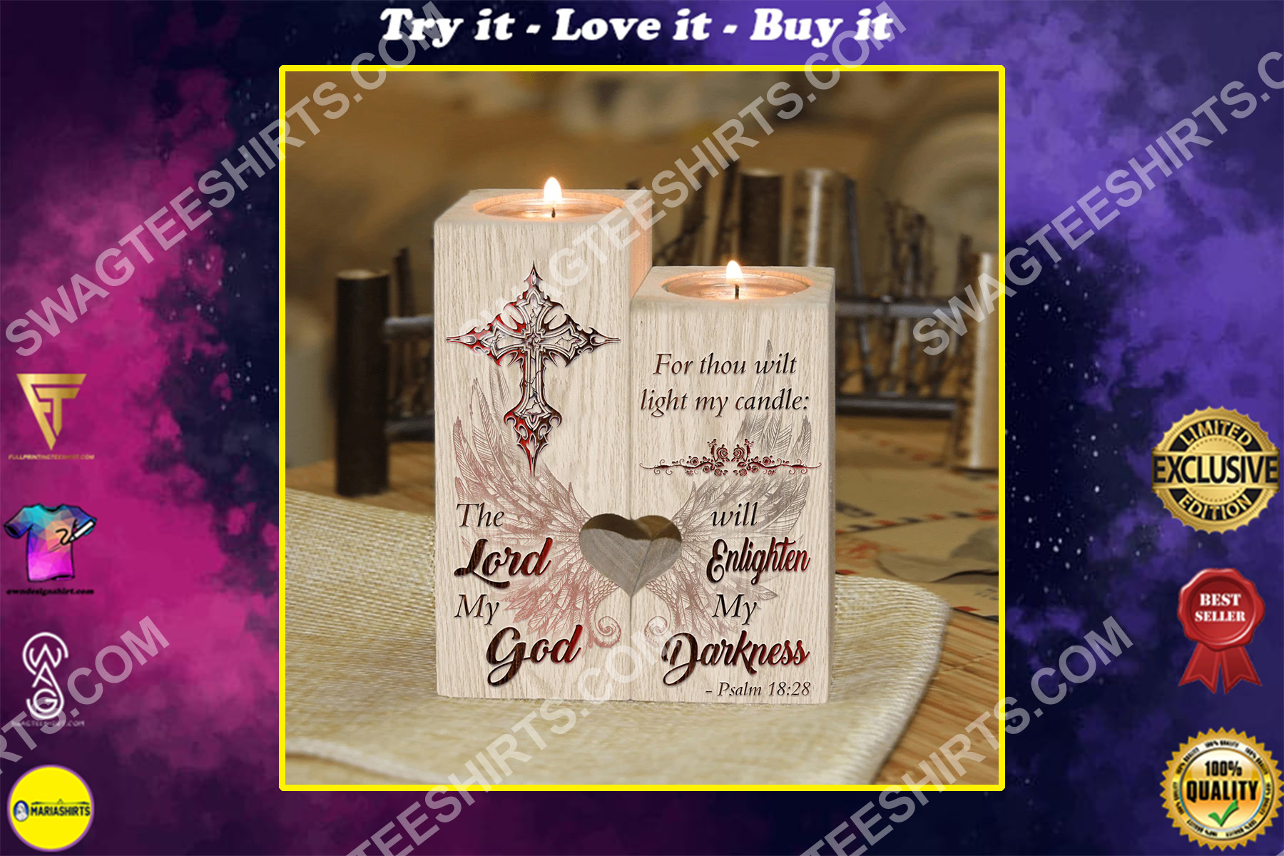 the lord my God will enlighten my darkness candle holder