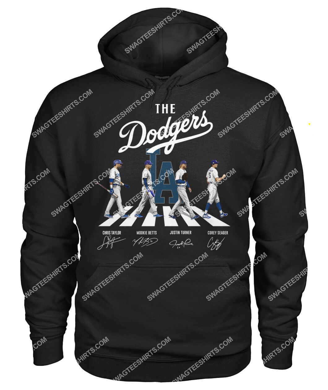 the los angeles dodgers walking abbey road signatures hoodie 1
