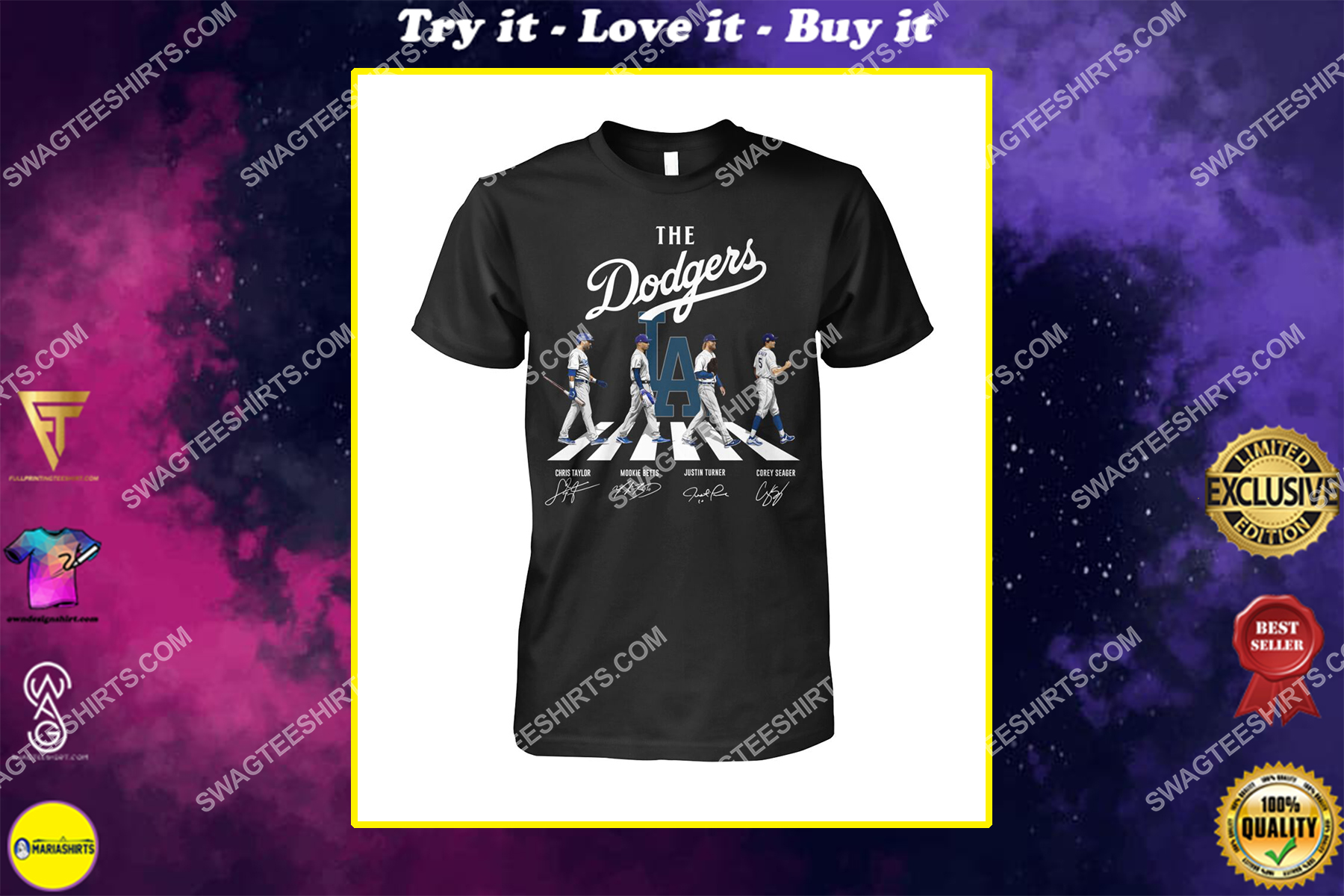 the los angeles dodgers walking abbey road signatures shirt