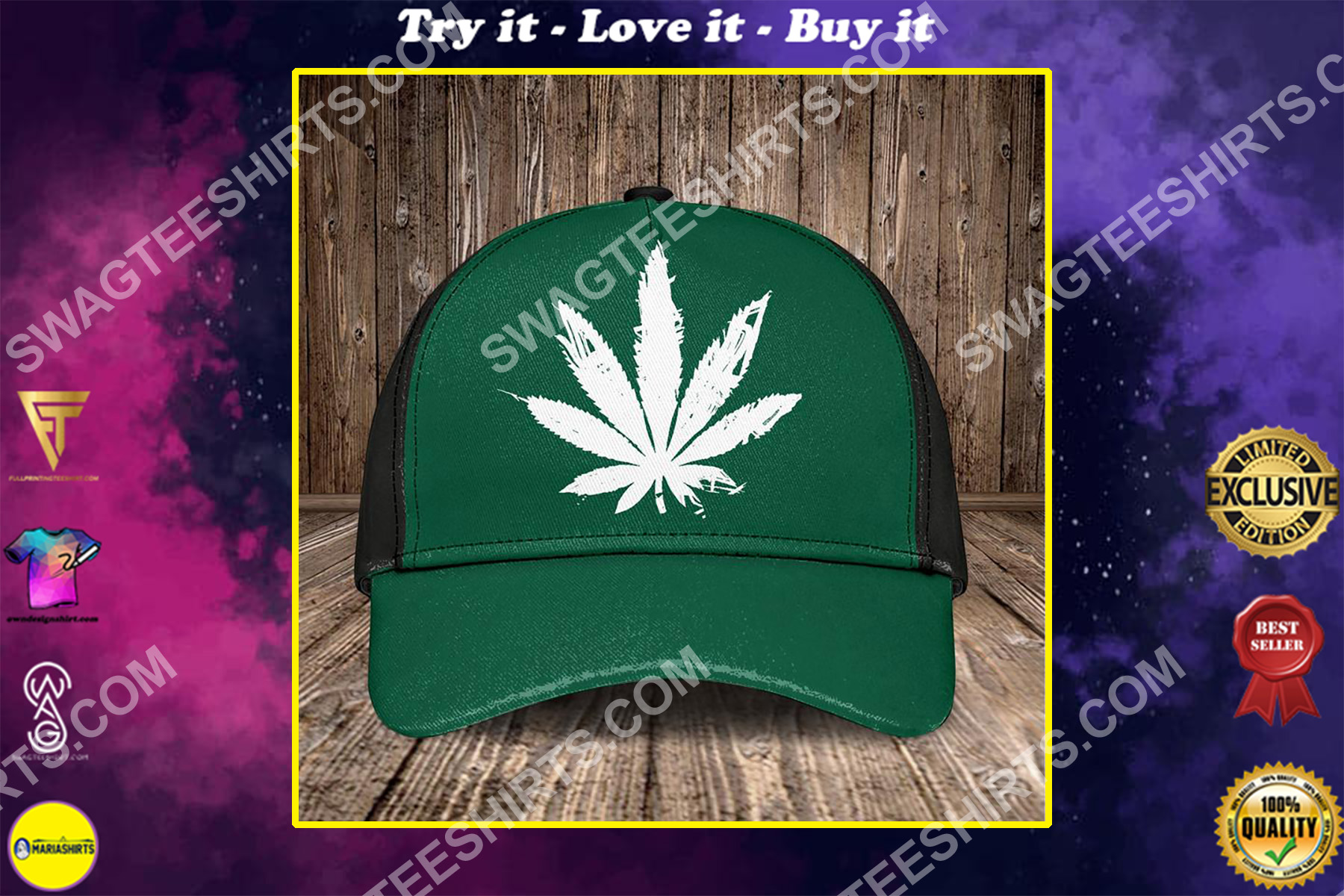 the marijuana leaf all over printed classic cap