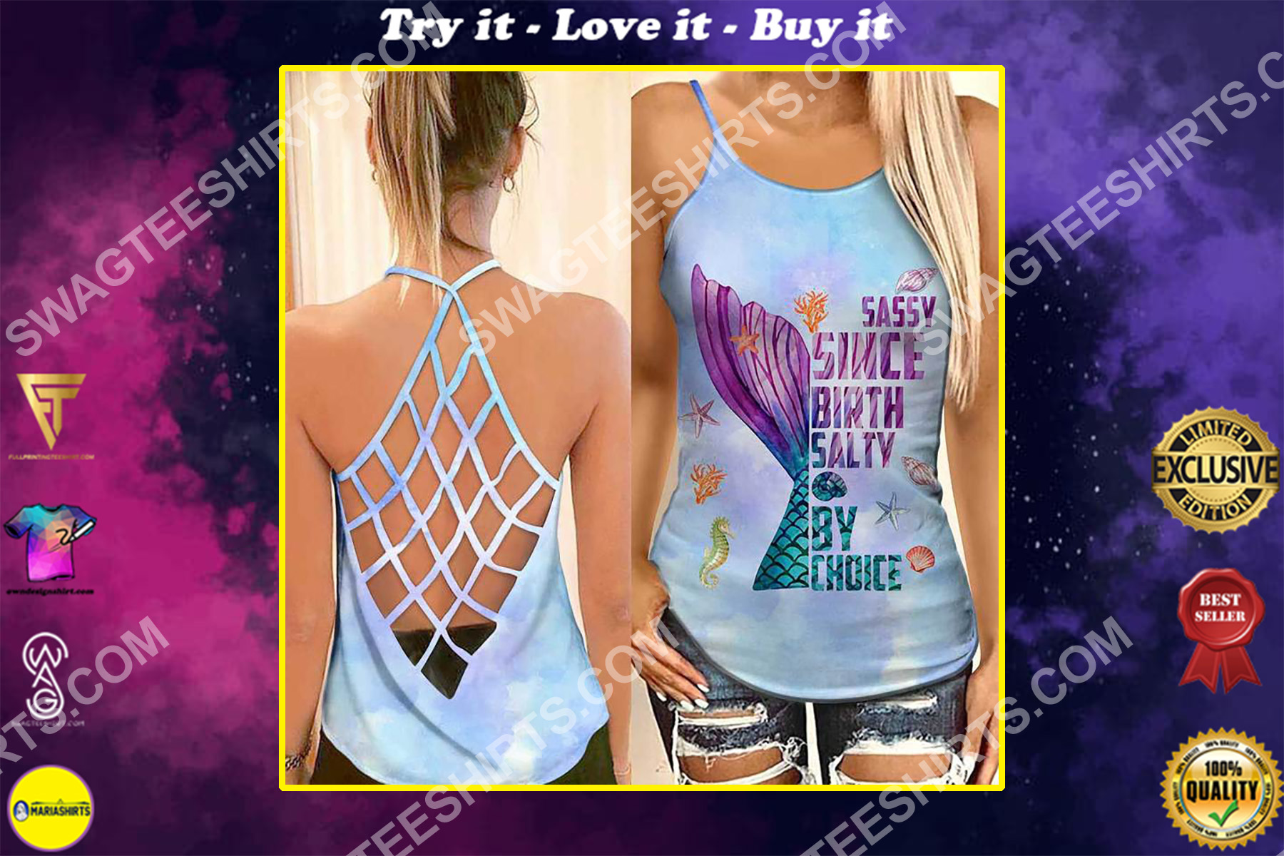 the mermaid sassy since birth salty by choice strappy back tank top